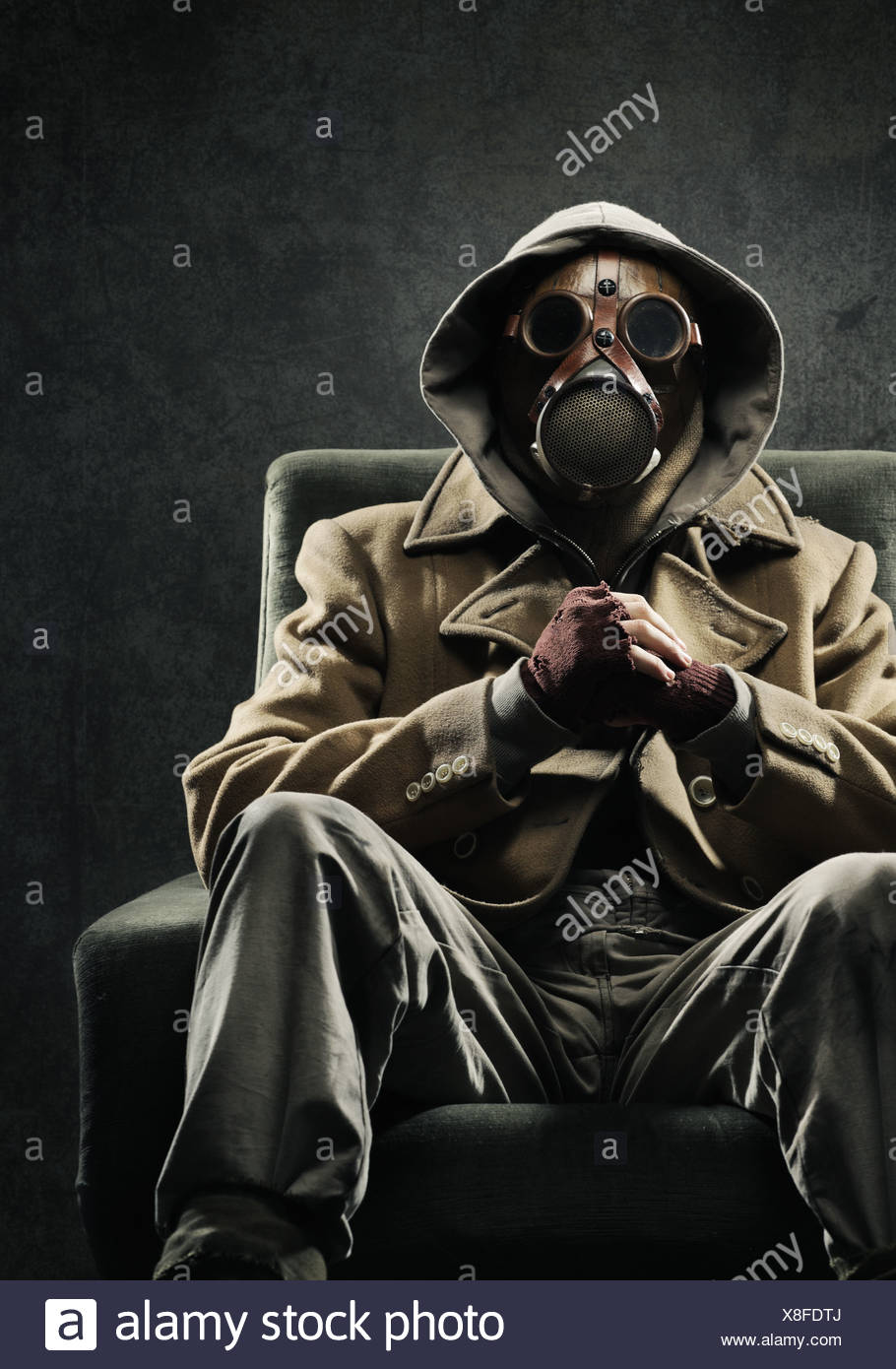 Man in gas mask - Stock Image