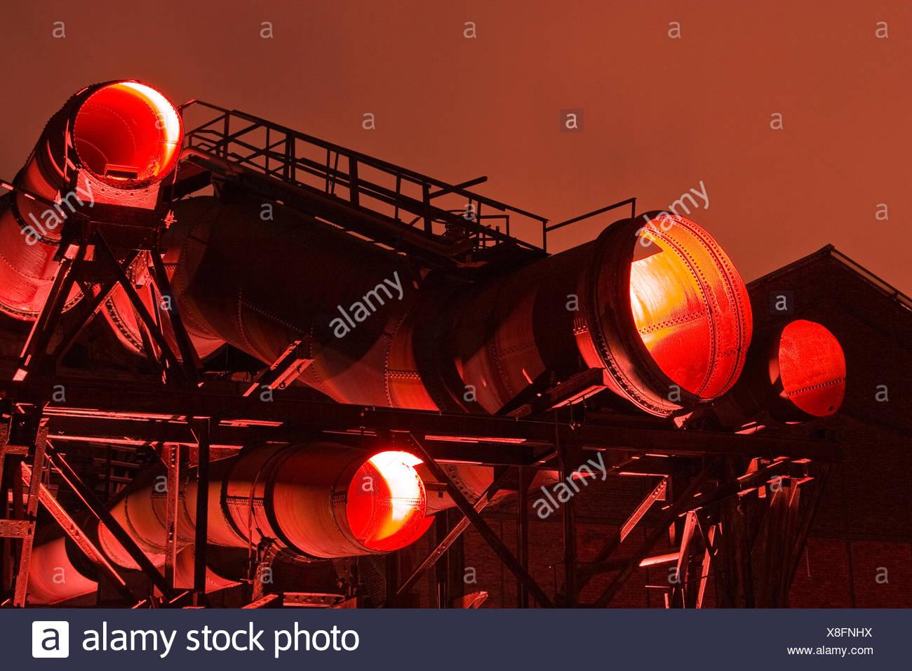 industry night nighttime lighted steel tube Bochum old industriekultur - Stock Image