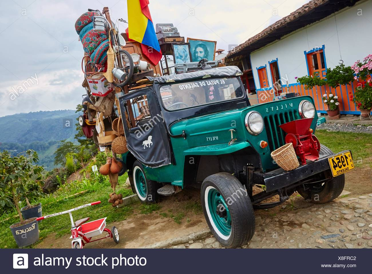 Willys Jeep, Salento, Quindio, Colombia, South America - Stock Image