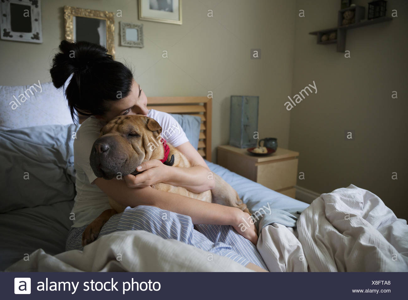 Woman hugging dog in bed - Stock Image