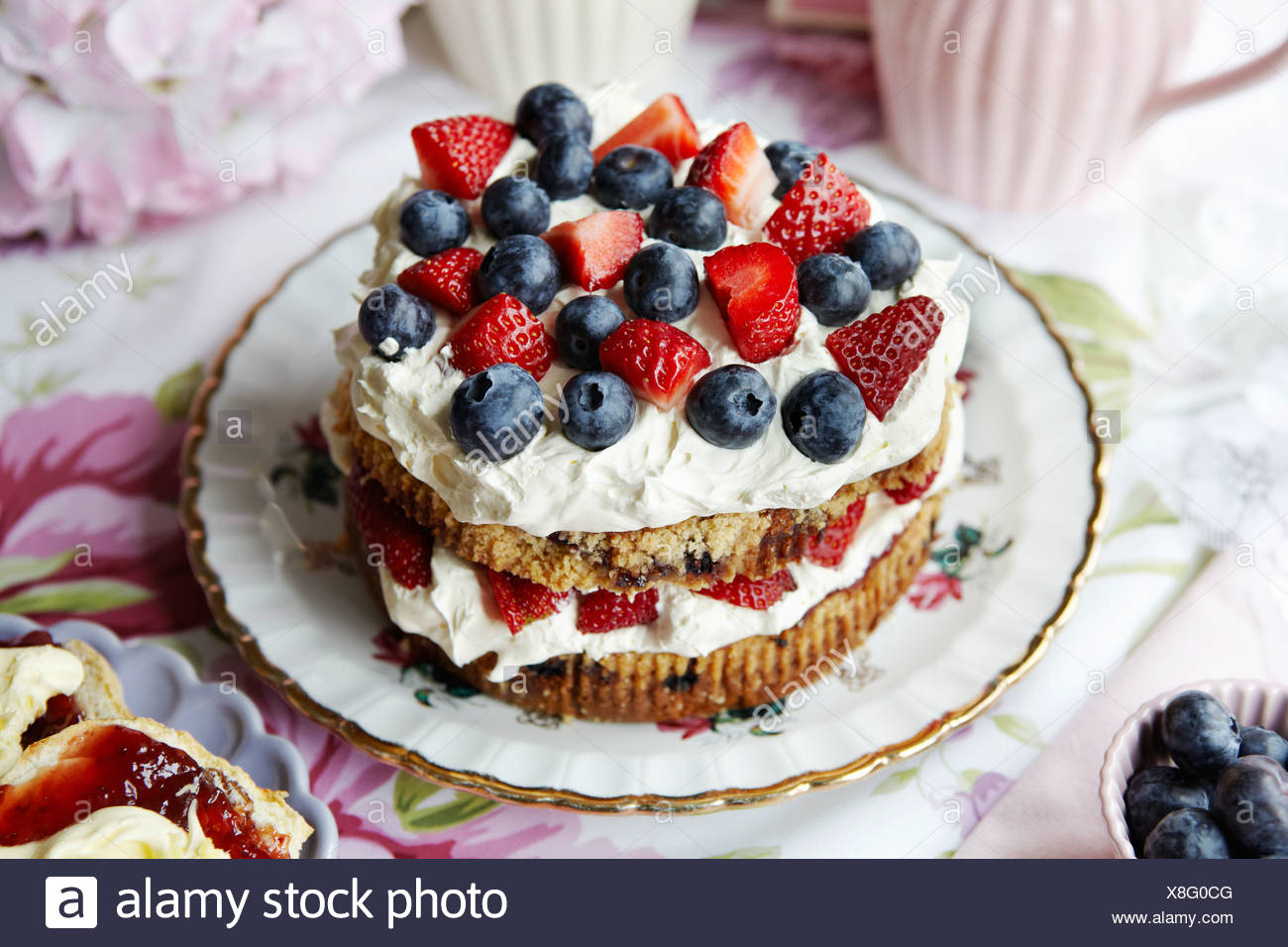 Plate of fruit and cream cake - Stock Image