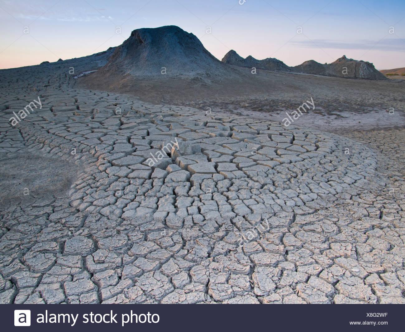 Azerbaijan, East, Asia, Caucasus, Quobustan, mud volcano, dry, Rissem, mud, slime, slushy, mud hole, mud holes, volcano, geology - Stock Image