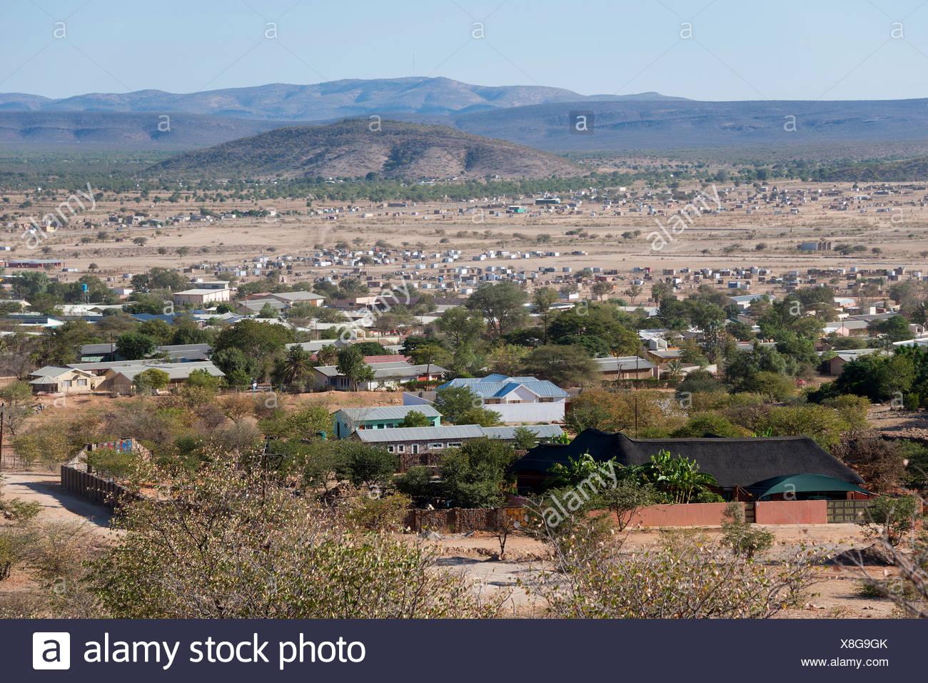 View to Opuwo, Namibia - Stock Image