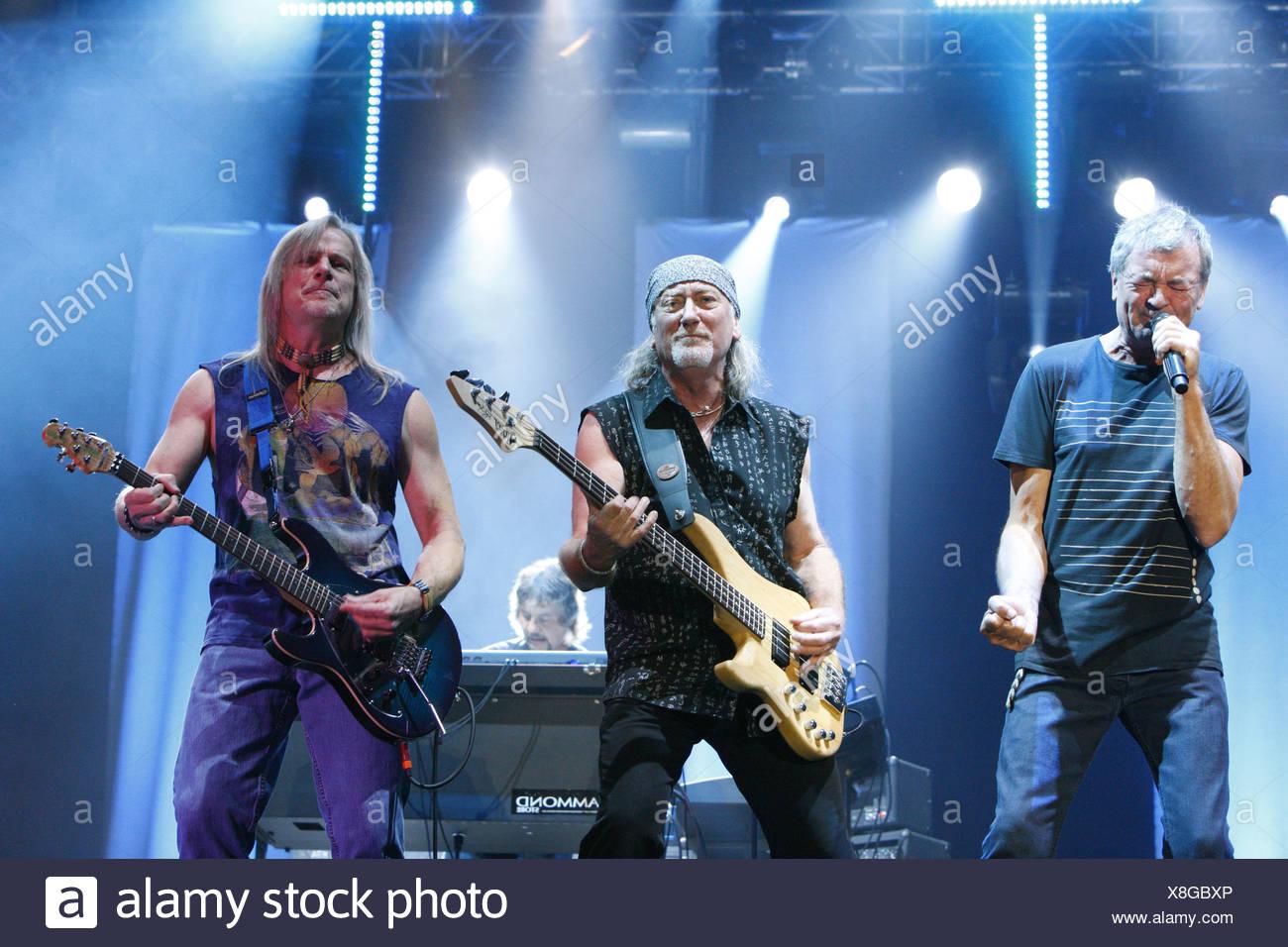 Ian Gillan, Roger Glover, Steve Morse, Deep Purple, English rock band, Open Air Festival, Muehldorf am Inn, Bavaria, Germany - Stock Image