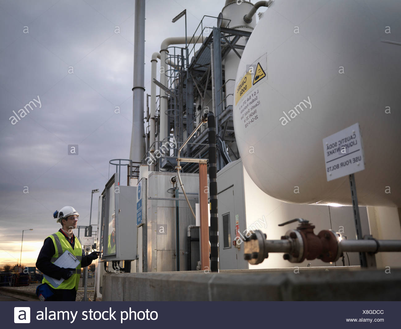 Port Worker At Control Panel - Stock Image