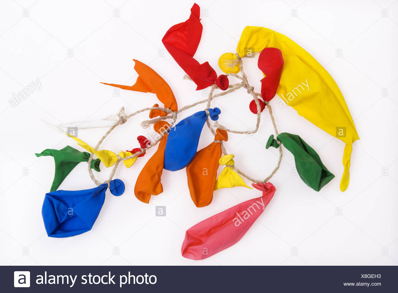 Balloons, bursts, cable, studio, cut out, burst, balloons, play, colours, brightly, broken, children's birthday party, childhood, transitoriness, destruction, different ones, - Stock Image