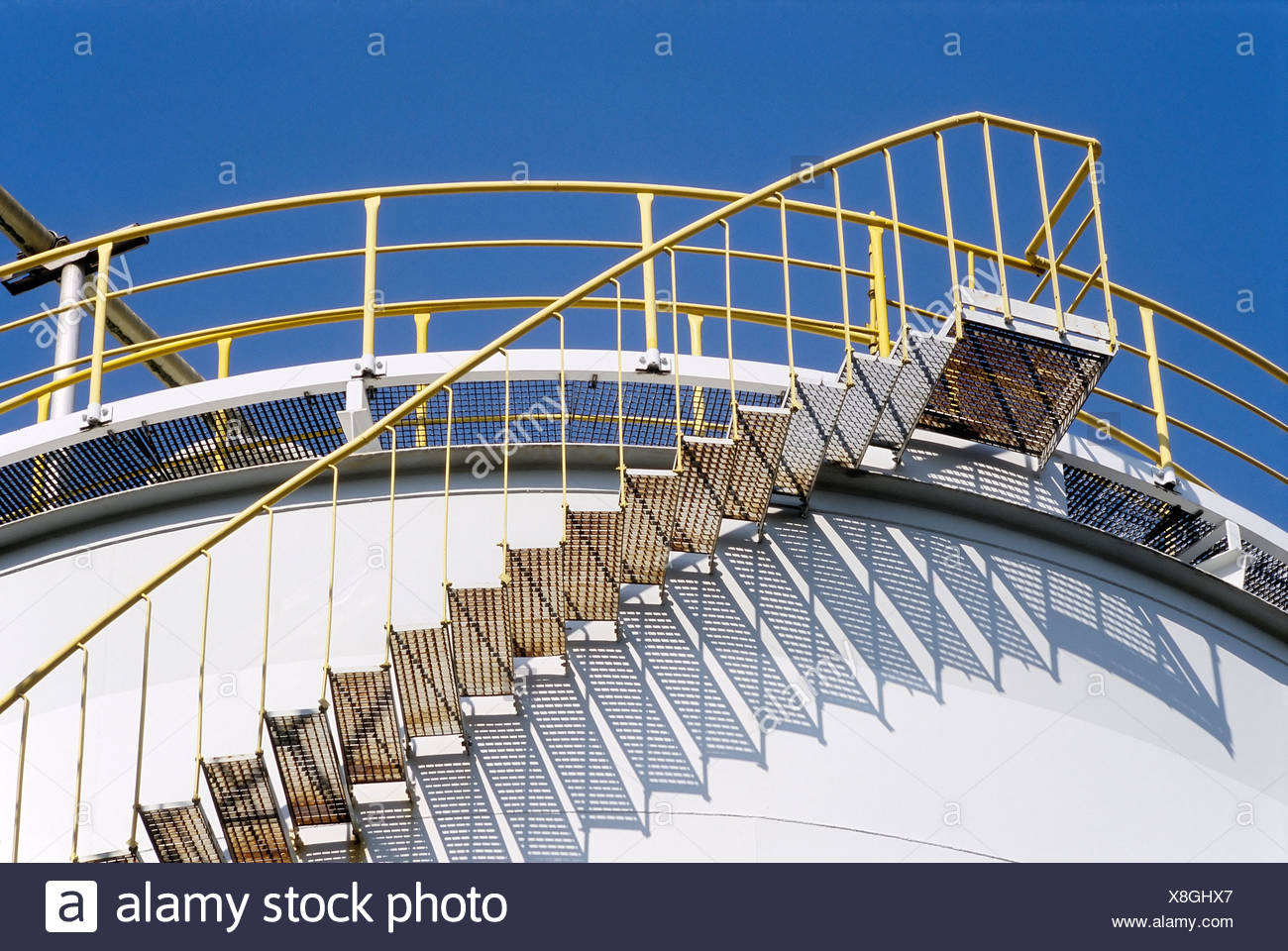Stairs on a tank containing hydrochloric acid, Chempark Krefeld-Uerdingen industrial park, formerly known as Bayer Industry - Stock Image