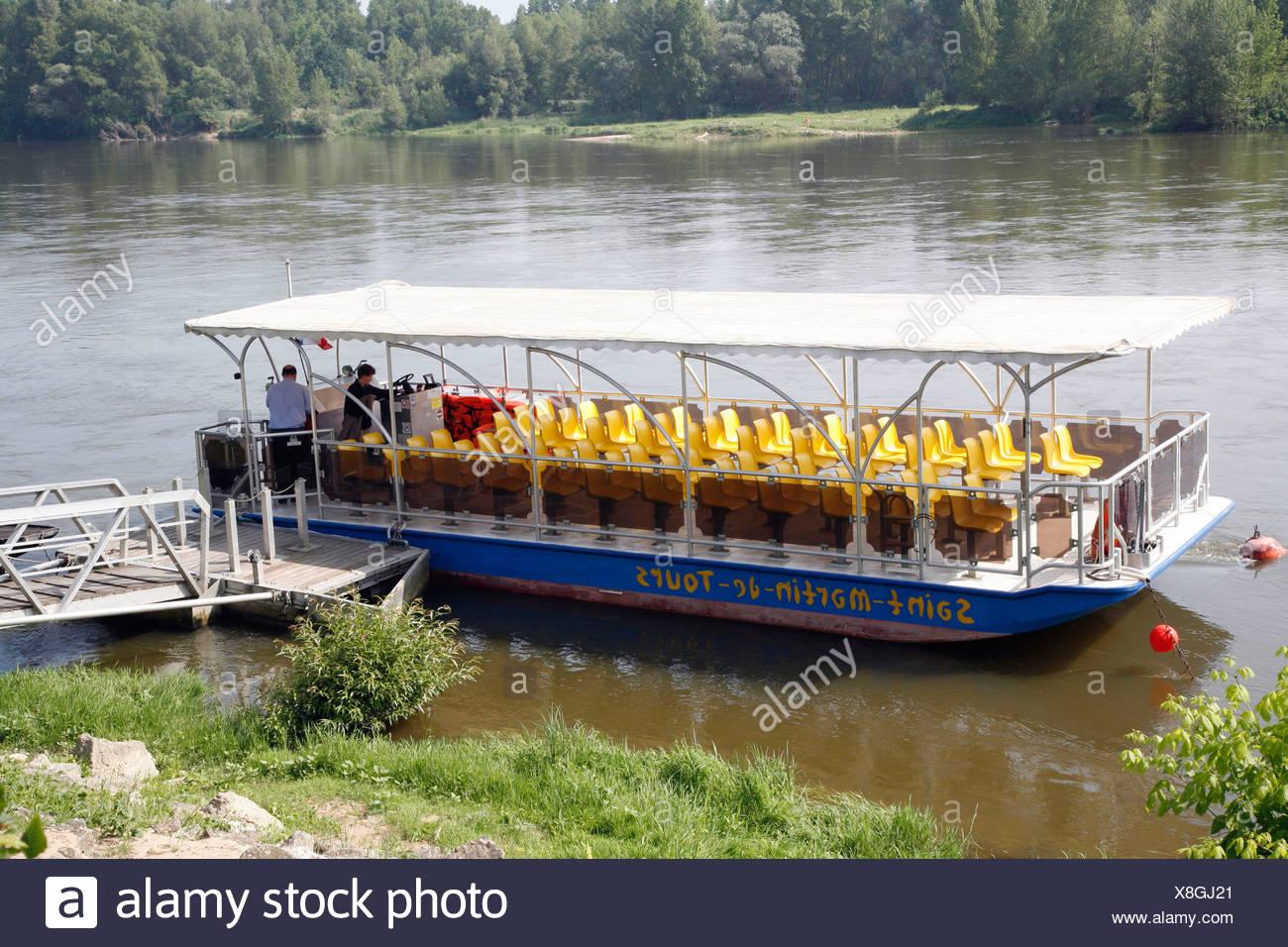 "Boat trip on the Loire River ""Saint-Martin-de-Tours"" bateau, Rochecorbon, France, Europe Stock Photo"