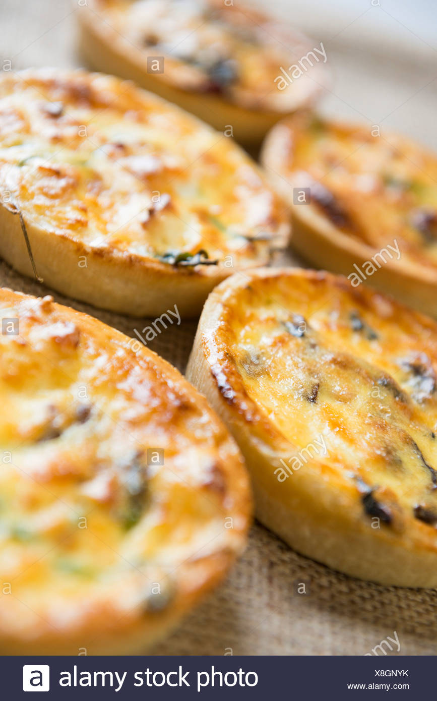 Mushroom and Cheese Quiche - Stock Image