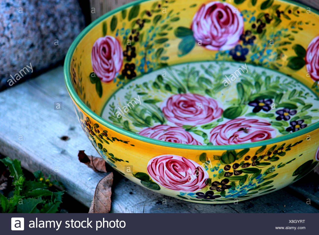Bowl With Floral Pattern - Stock Image