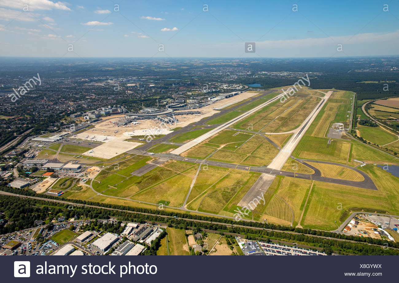 Aerial view, overview of runways 05L and 05R, Düsseldorf Airport, Düsseldorf, Rhineland, North Rhine-Westphalia Airport - Stock Image