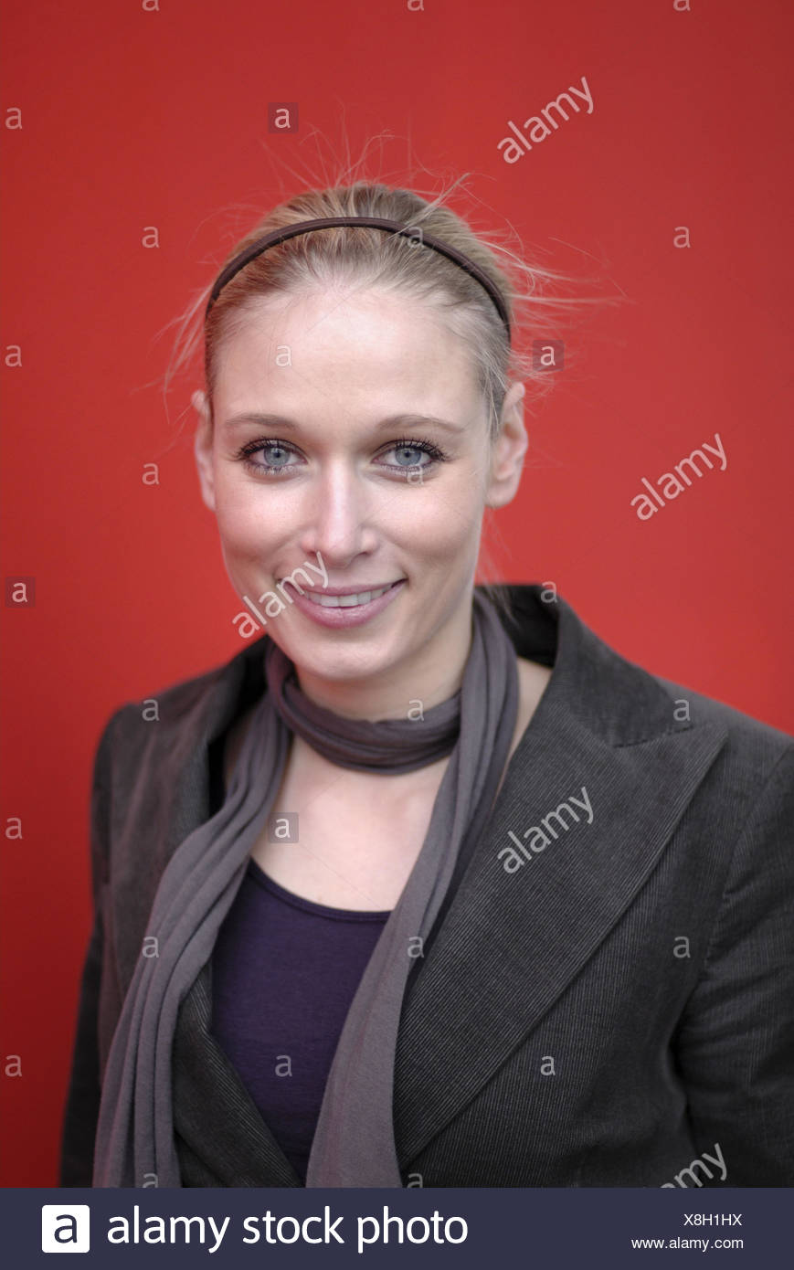 Woman, smile young, blond, hair maturity, portrait, - Stock Image