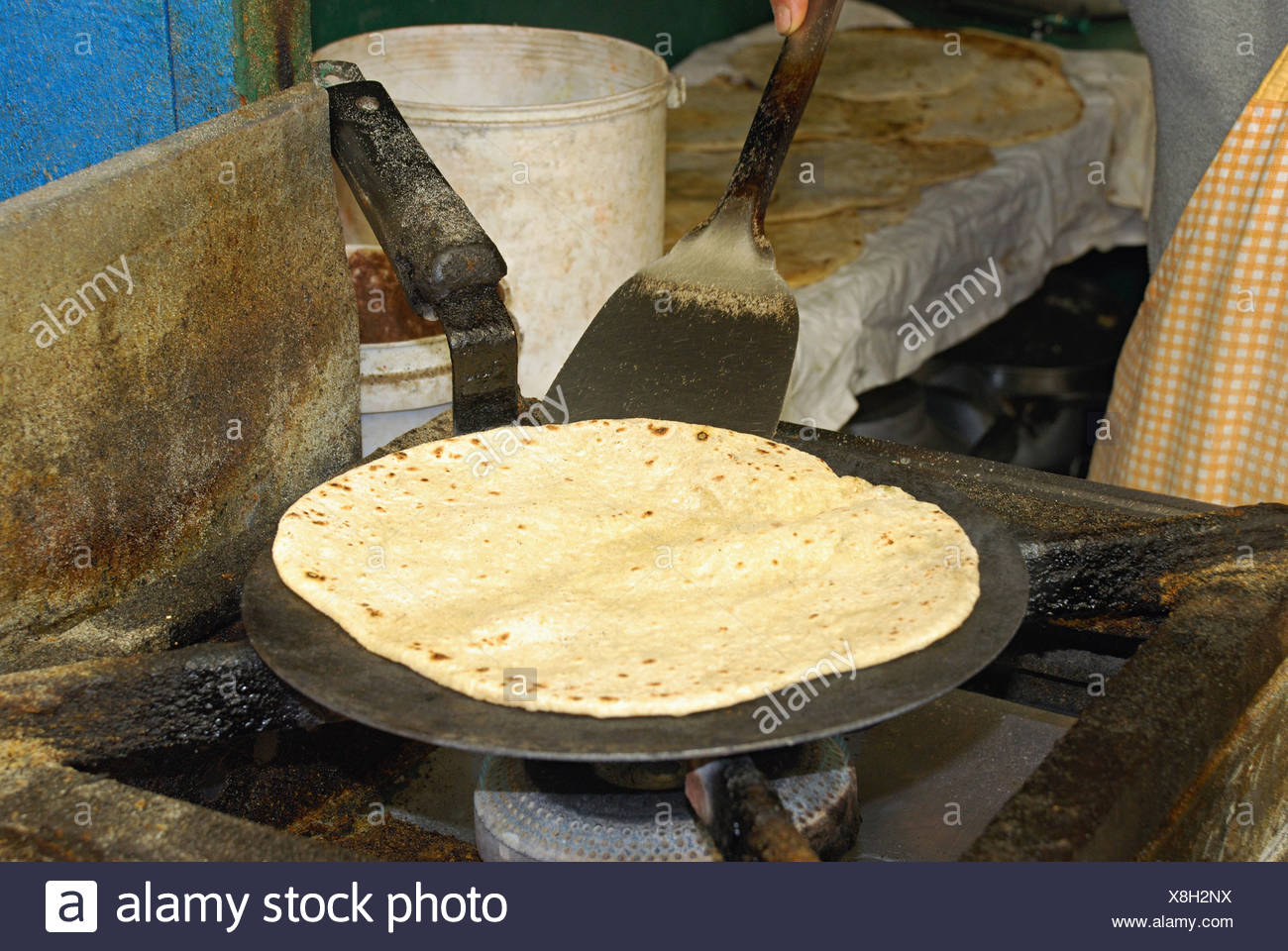 Paratha (a Sort of Indian bread) being prepared at a local