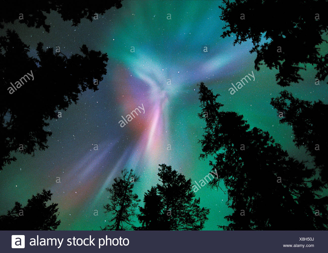 Aurora borealis colours in night sky showing corona, northern Finland, winter - Stock Image