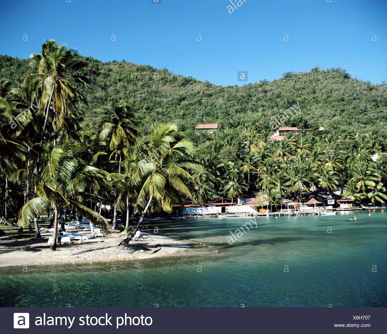 Caribbean Saint Lucia Caribbean Marigot Bay palms yachts - Stock Image