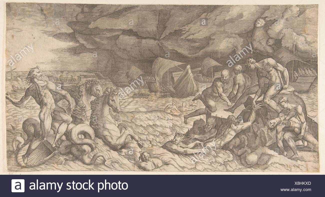 Neptune calming the Tempest Aeolus raised against the Fleet of Aeneas. Artist: Giulio Bonasone (Italian, active Rome and Bologna, 1531-after 1576); - Stock Image