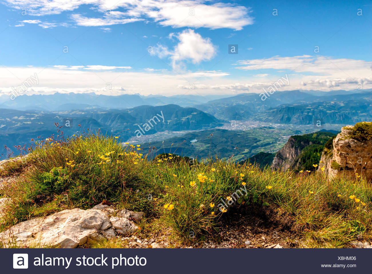 Bolzano see from the top of Roen mount, Non vally, Trentino Alto Adige, Italy - Stock Image