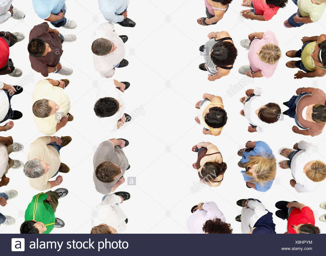 Divided crowd - Stock Image