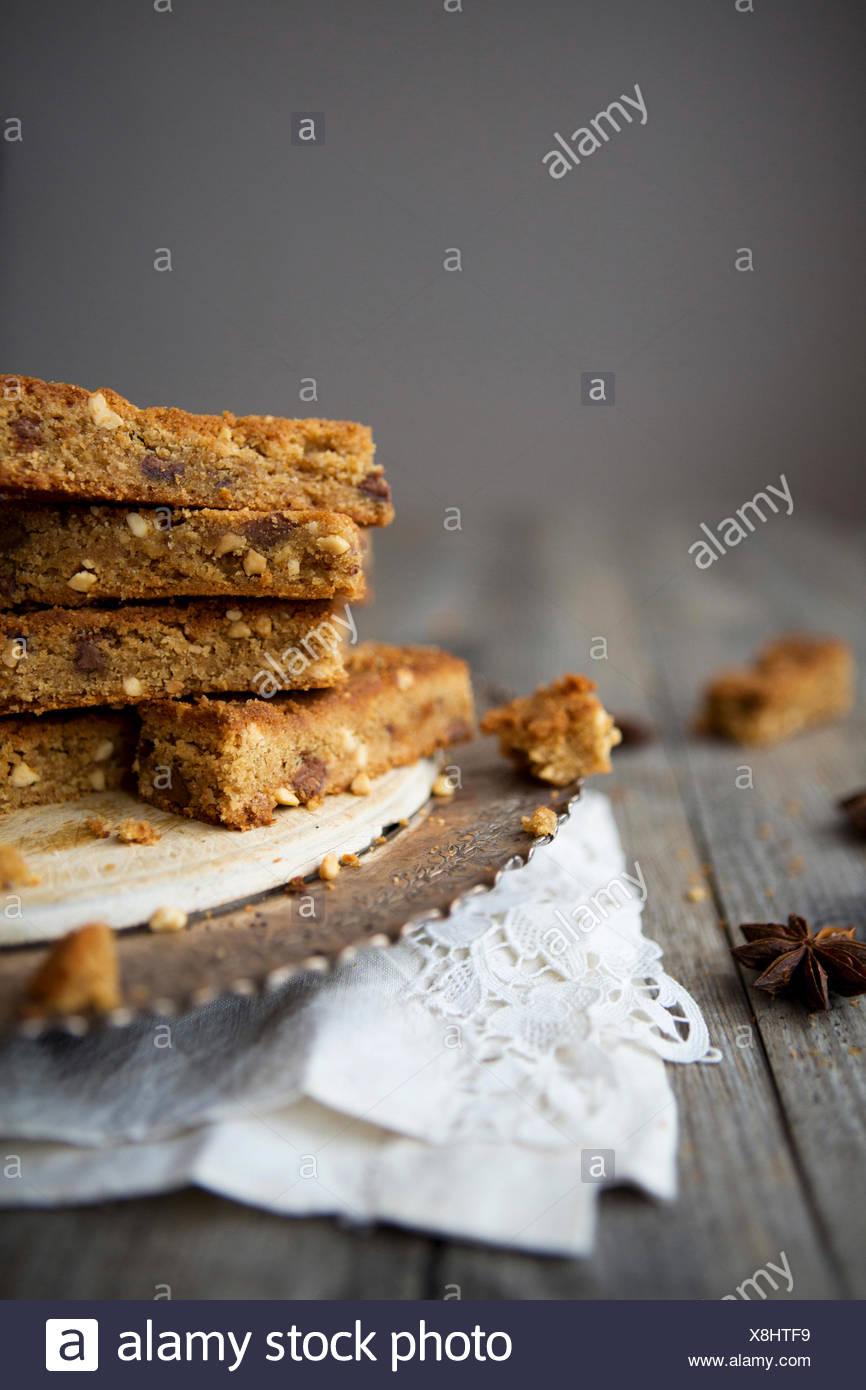 Milk Chocolate & White Chocolate Brownies - Stock Image