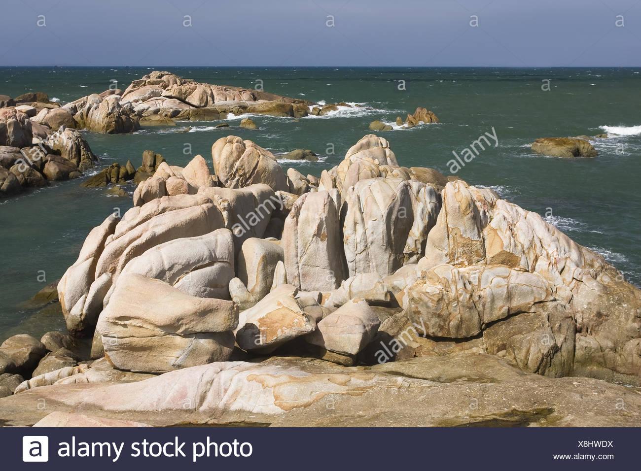 Rockformations on the coast at HaiDang,Ke Ka,Vietn Stock Photo