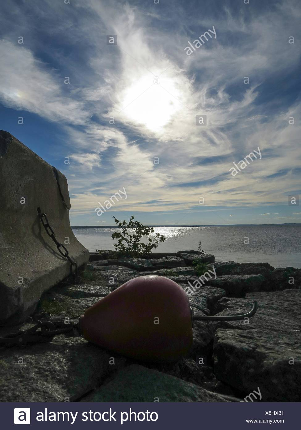 Buoy At Harbor Against Sky - Stock Image