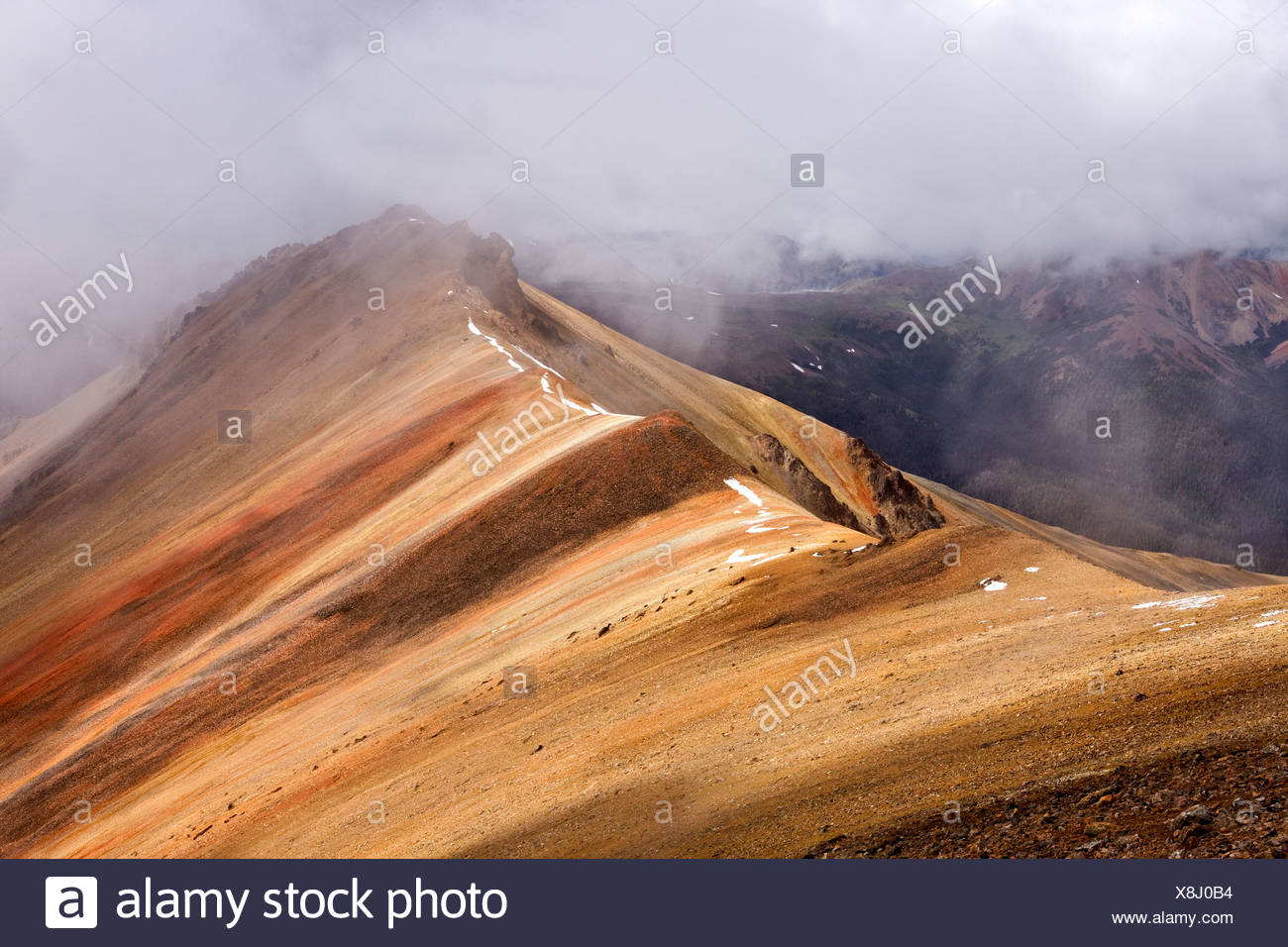stormy weather on the volcanic slopes of Mackenzie Mountain in Tweedsmuir Park in British Columbia Canada - Stock Image