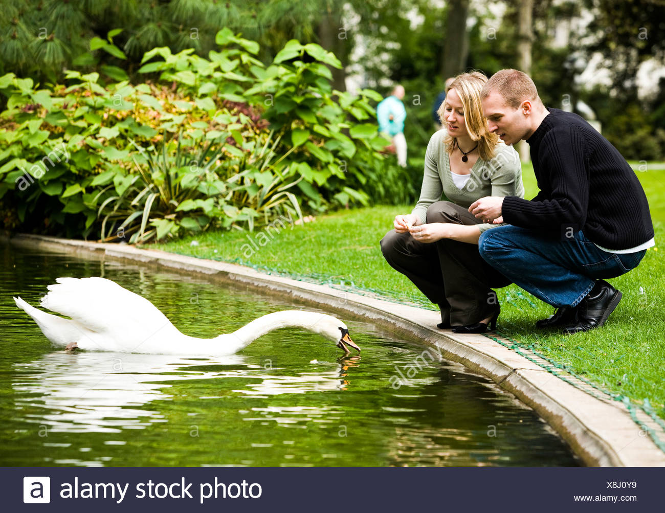 Man and woman and swan - Stock Image