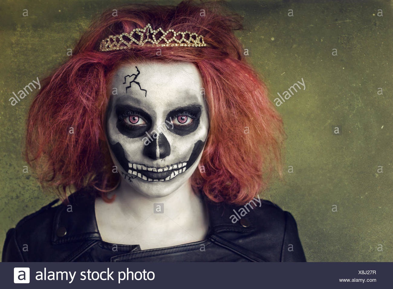 Portrait of girl (12-13) with painted face - Stock Image