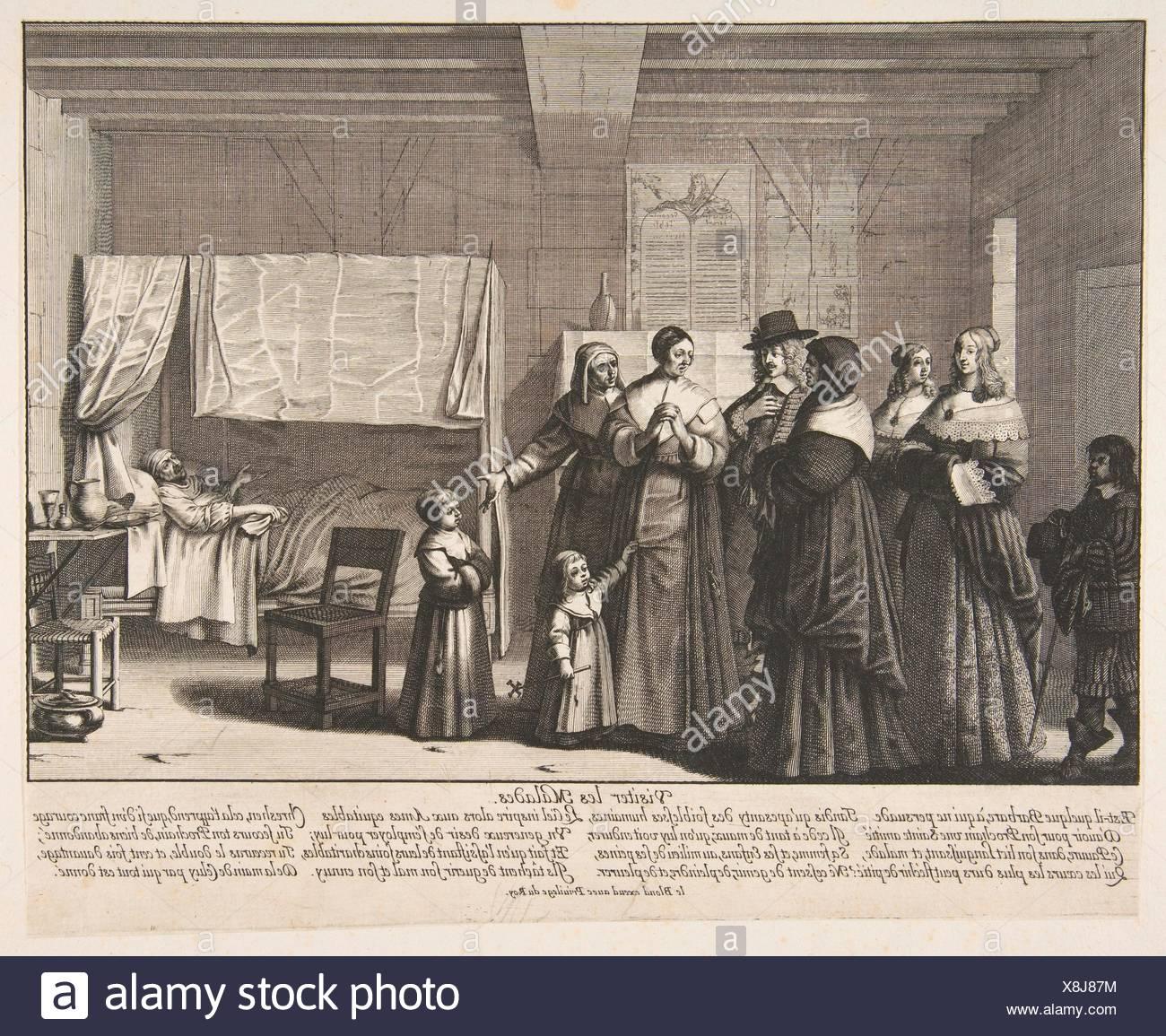 Visiting the Sick (Visiter les malades). Series/Portfolio: Les OEuvres de miséricorde; Artist: Abraham Bosse (French, Tours 1602/1604-1676 Paris); - Stock Image