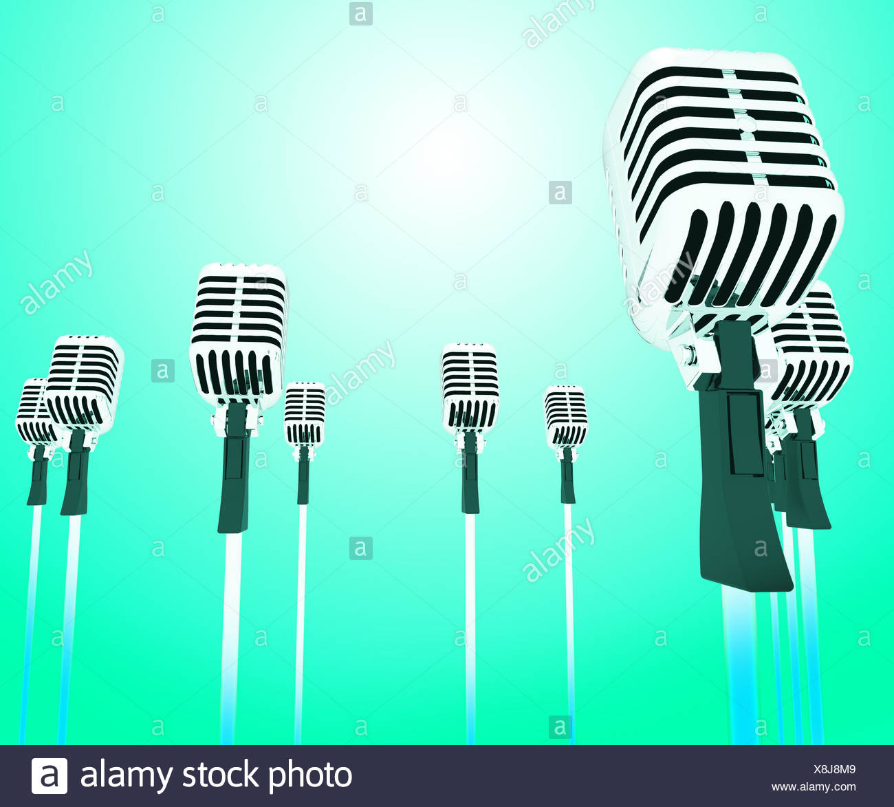 Microphones Micl Shows Music Groups Band Or Singing Hits - Stock Image