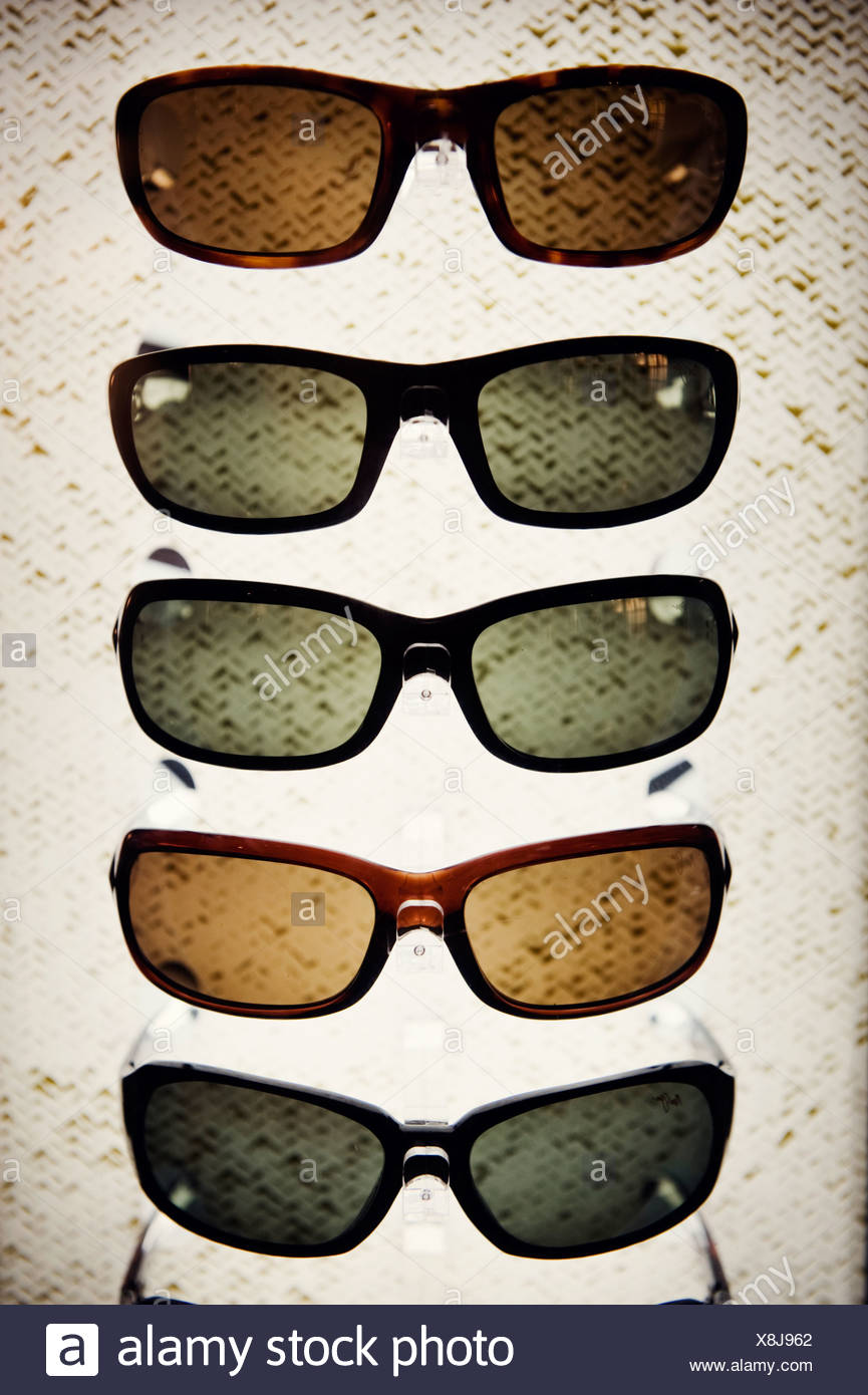 Varieties of sunglasses, studio shot - Stock Image