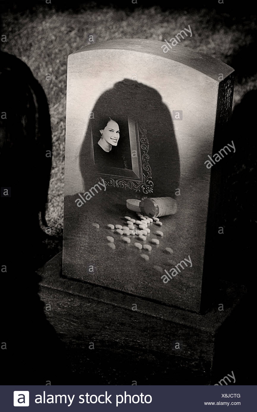 Tombstone of an addict - Stock Image