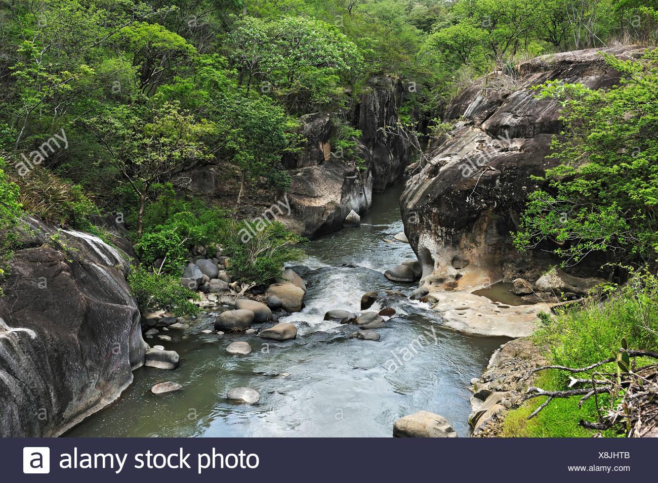 River gorge near Liberia, Guanacaste province, Costa Rica, Central America - Stock Image