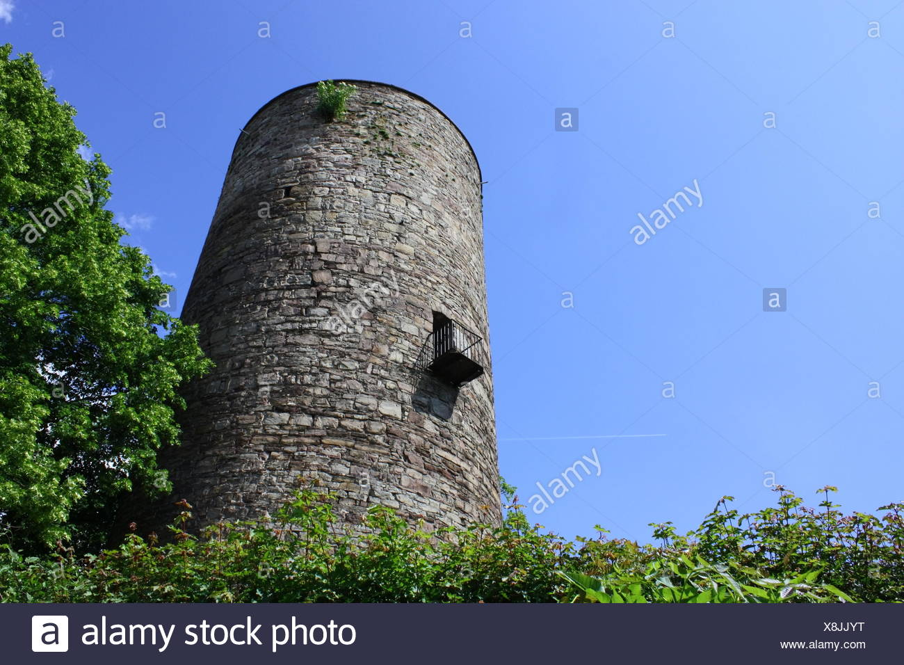 tower, high pressure area, middle ages, blue, tower, wall, balcony, high - Stock Image