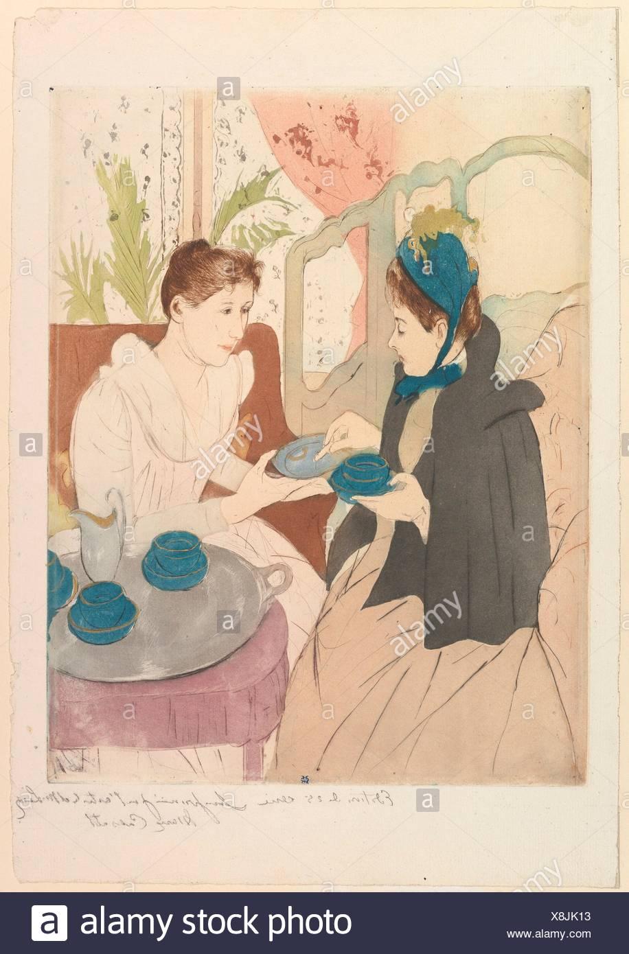 Afternoon Tea Party. Artist: Mary Cassatt (American, Pittsburgh, Pennsylvania 1844-1926 Le Mesnil-Théribus, Oise); Date: 1890-91; Medium: Drypoint Stock Photo