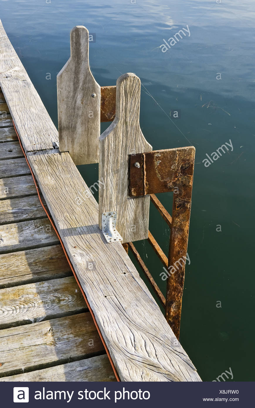ladder at a landing stage Stock Photo