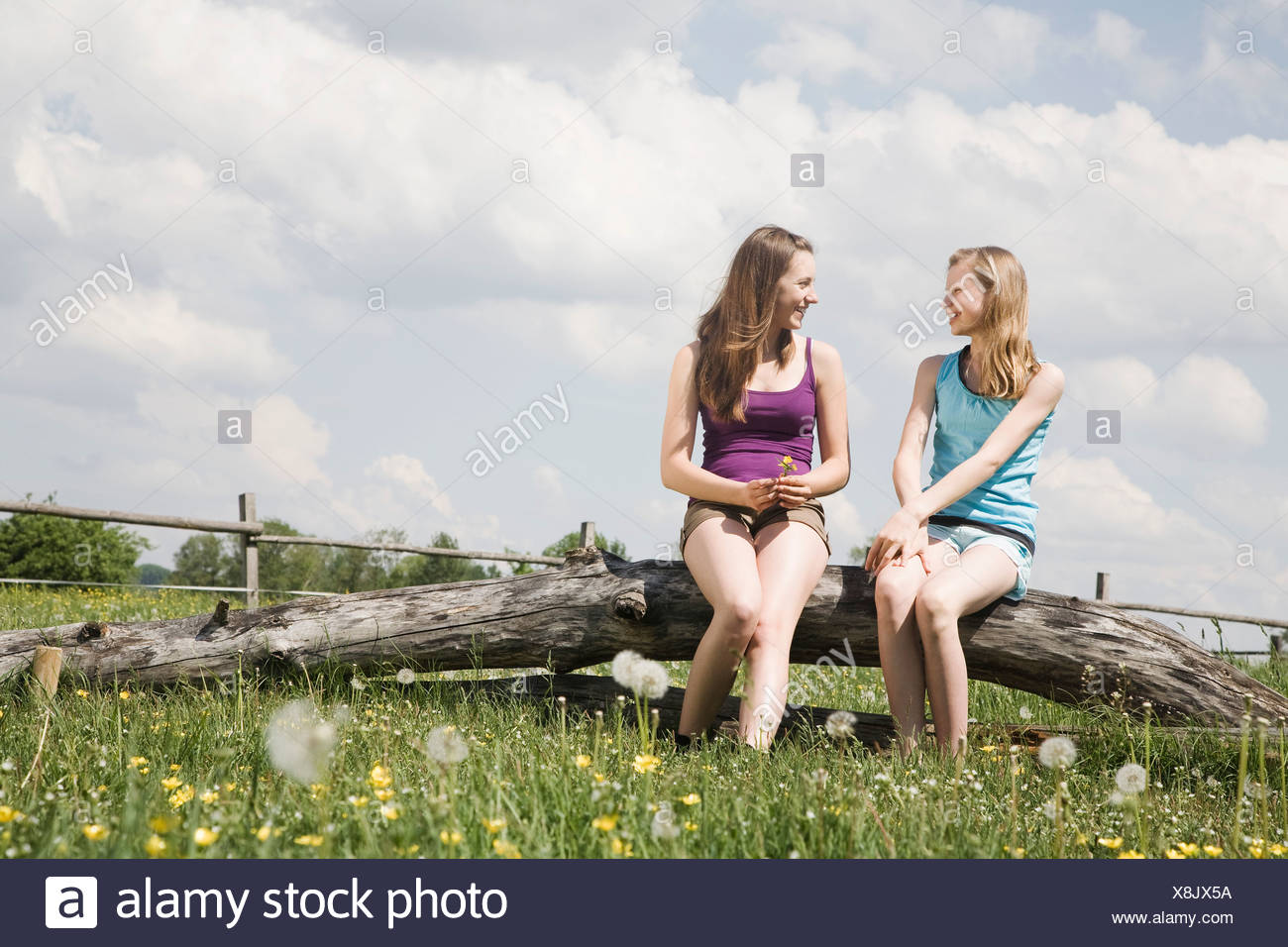 two girls sitting together on tree trunk at horse ranch - Stock Image
