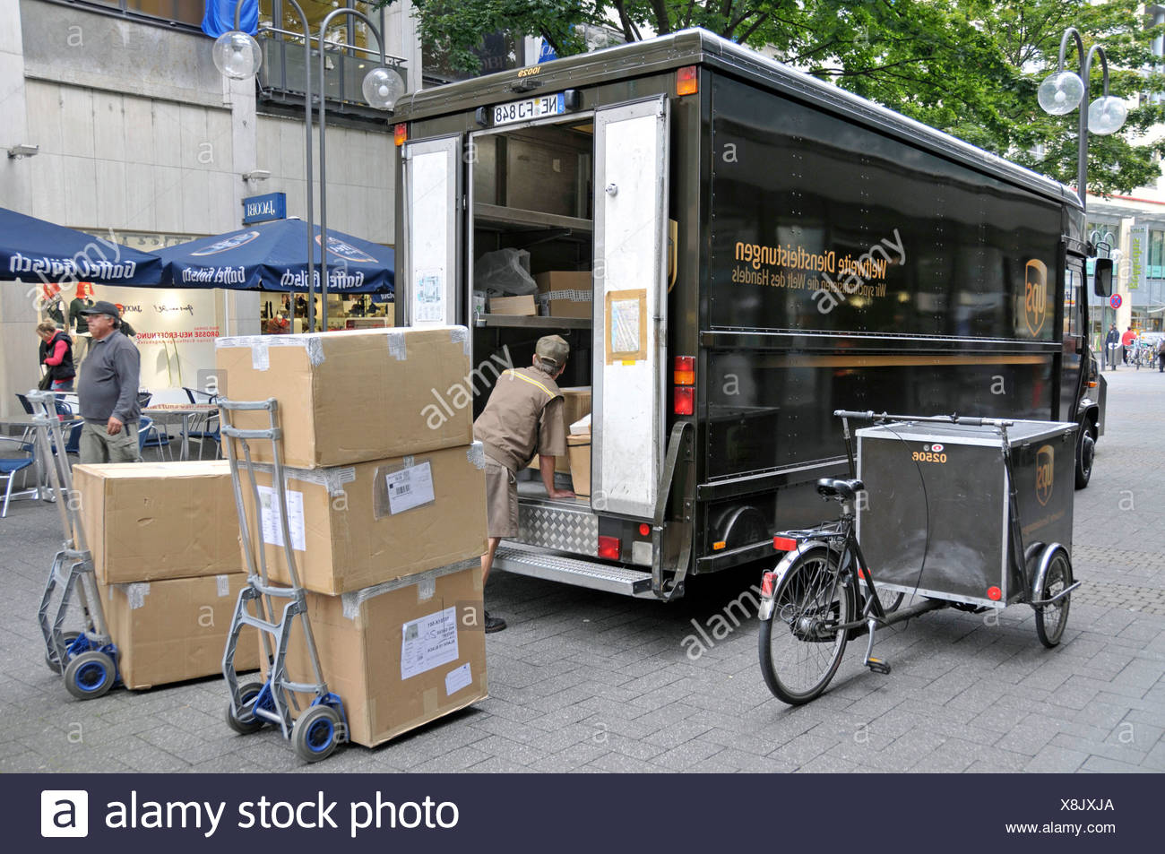 UPS parcel delivery service truck in a Cologne pedestrian zone, North Rhine-Westphalia, Germany, Europe Stock Photo