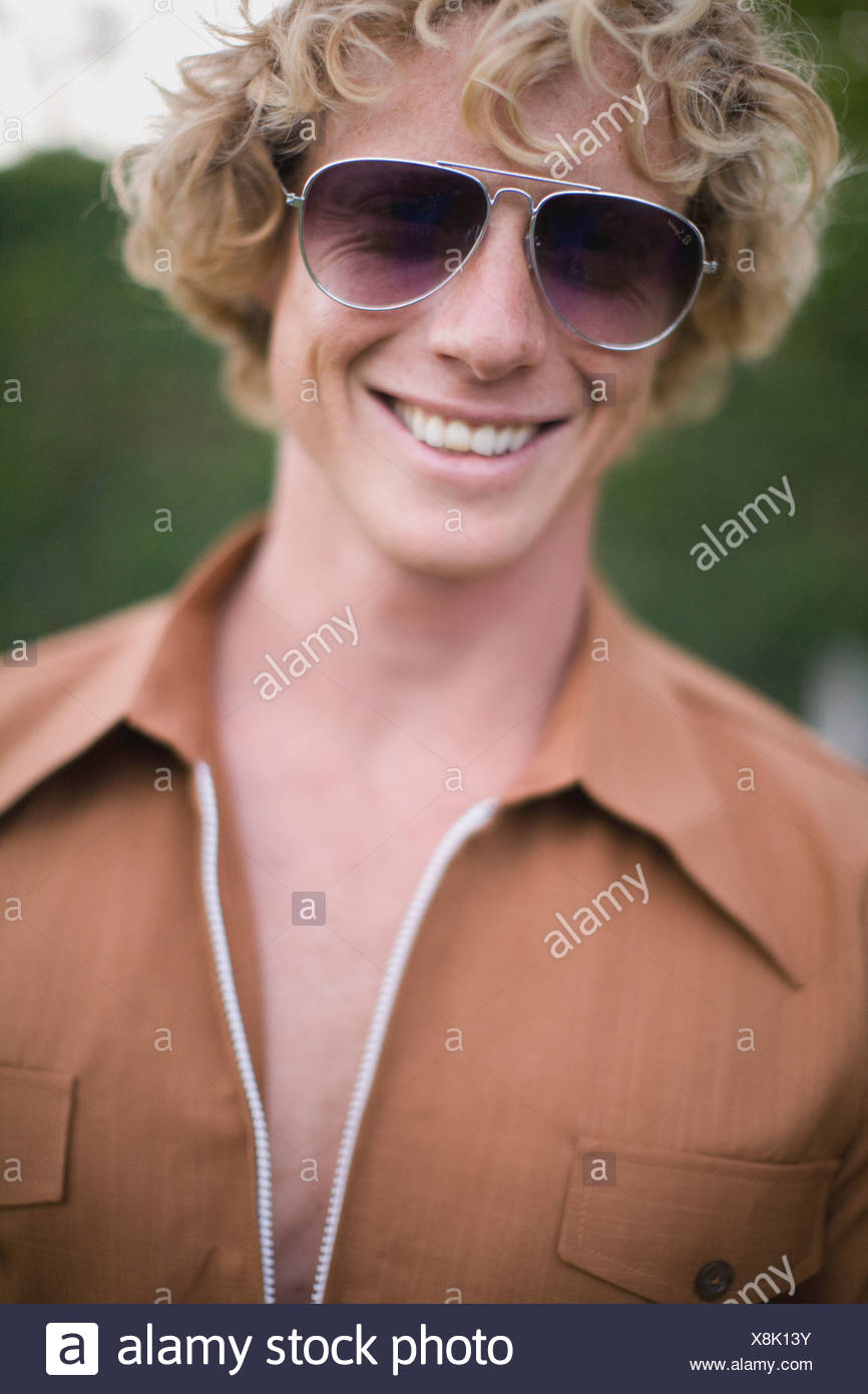 Portrait Of Young Man In 1970S Style Clothing; Perth, Australia - Stock Image