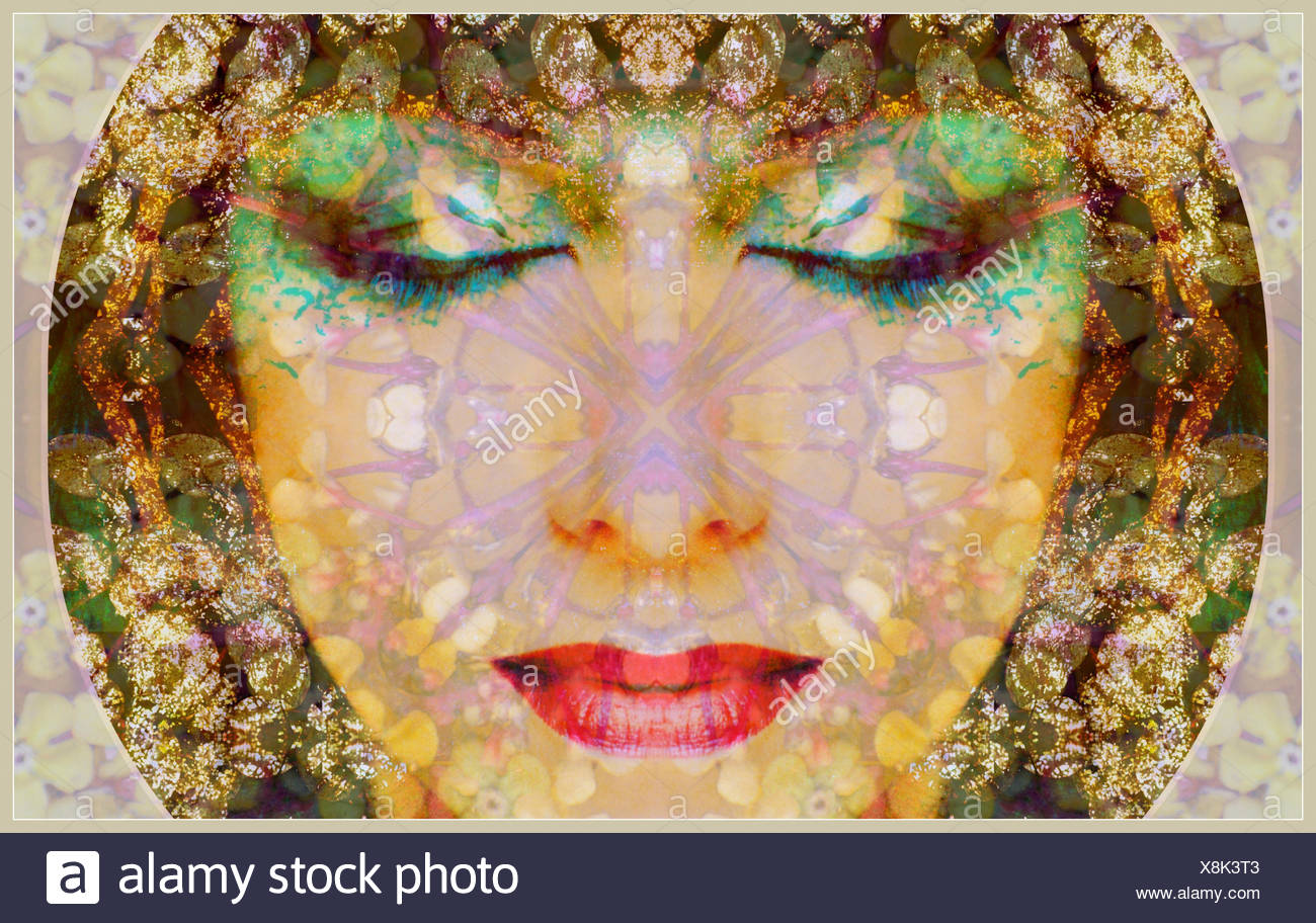 a montage of a portrait with ornaments in egyptian style - Stock Image