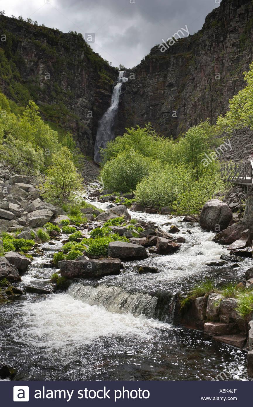 Njupeskär, highest waterfall in Sweden, Fulufjällets National Park, near Särna, Dalarna province, Sweden, Scandinavia - Stock Image