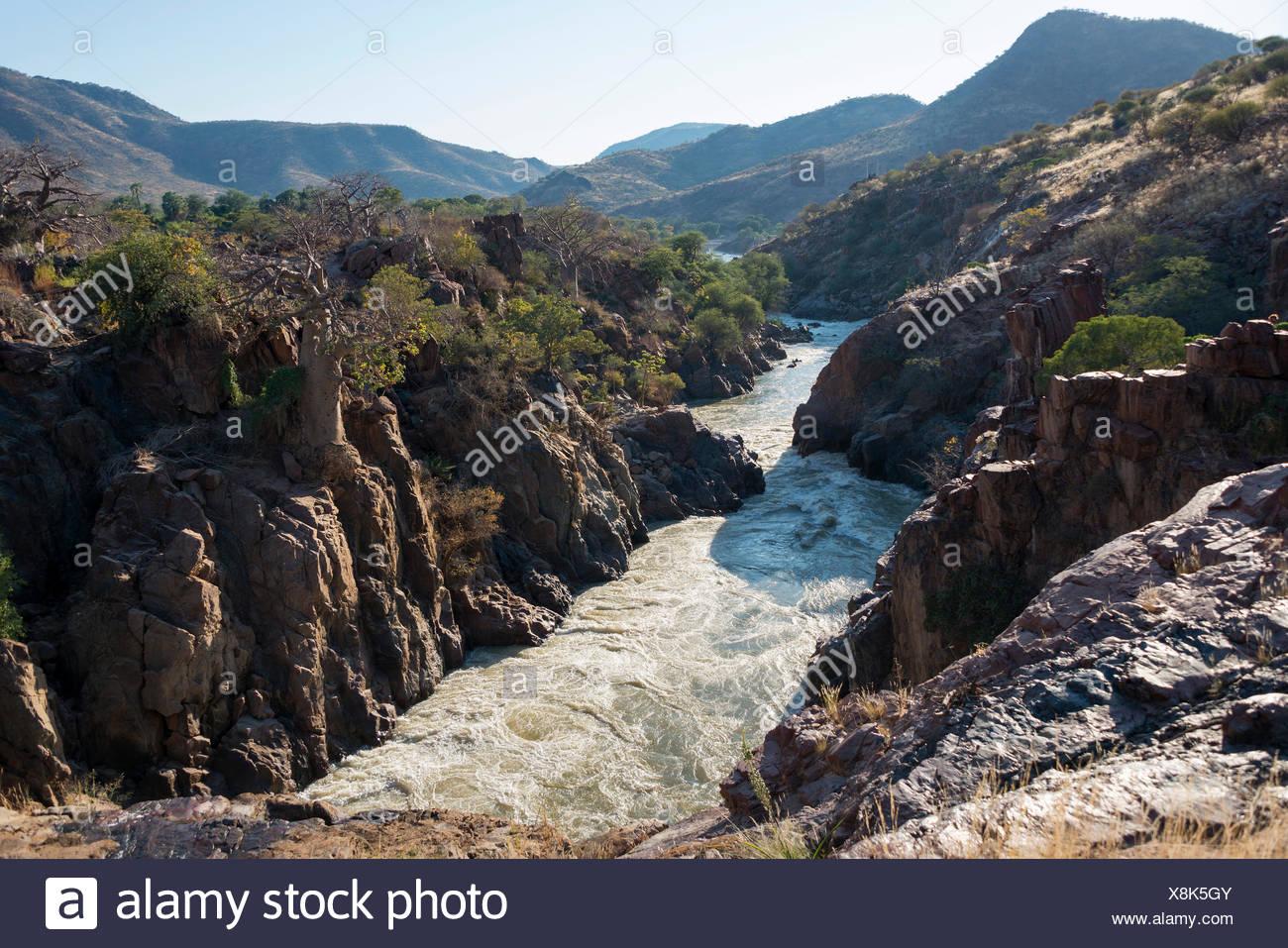 Epupa Falls, Kunene river, Kaokoveld, Namibia - Stock Image