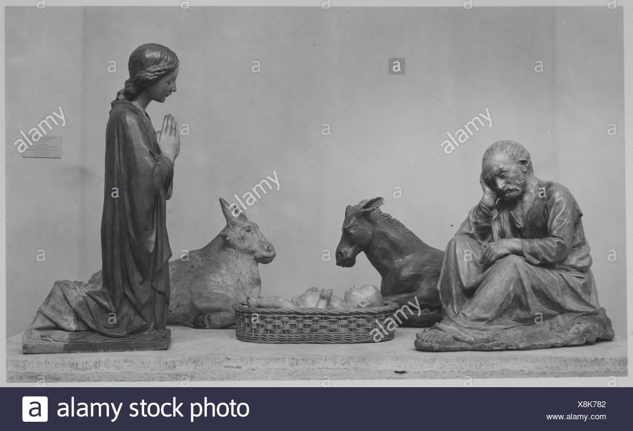 Nativity (five figures forming a presepio). Artist: Workshop of Antonio Rossellino (Italian, Settignano 1427-ca. 1479 Florence); Date: 15th century; - Stock Image