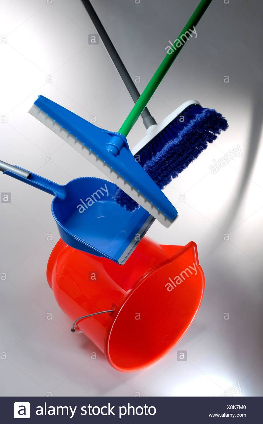 composition with a broom, mop,pail and trash shovel - Stock Image