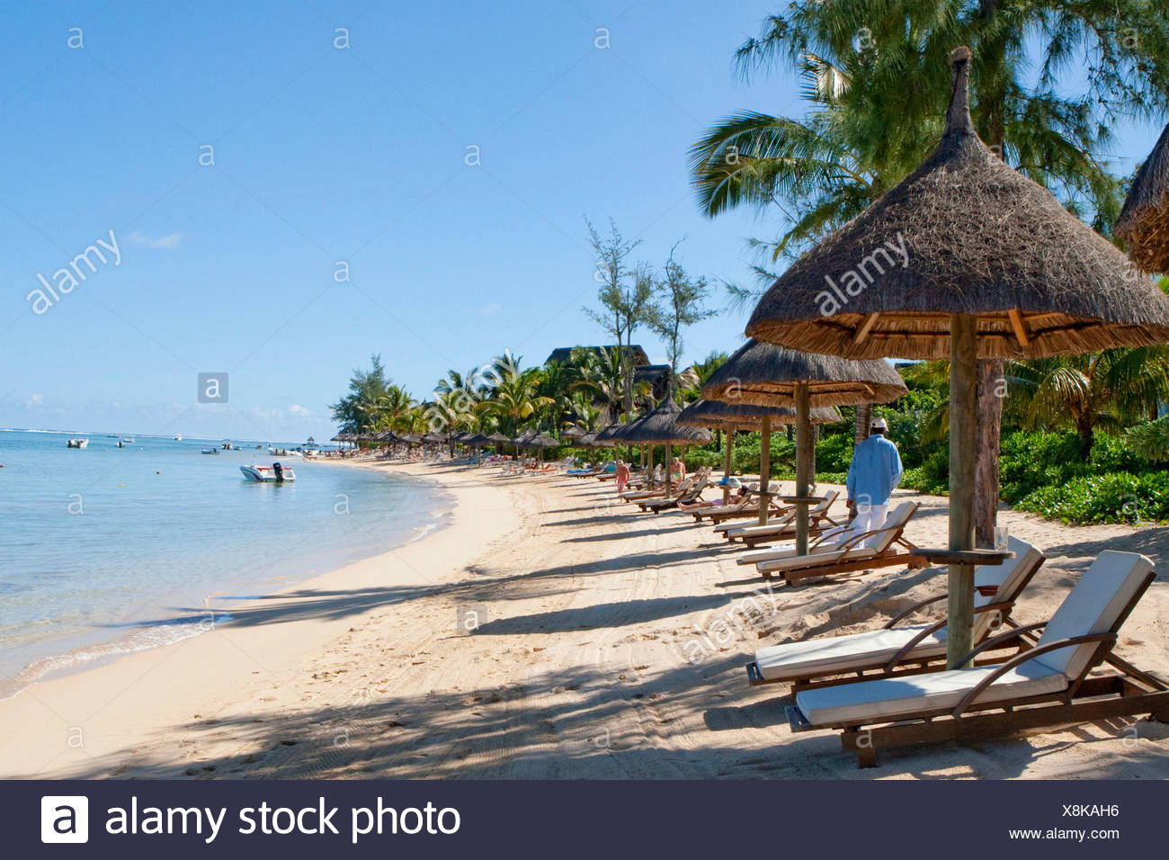 Beach of the Le Telfair Hotel, Bel Ombre, Mauritius - Stock Image