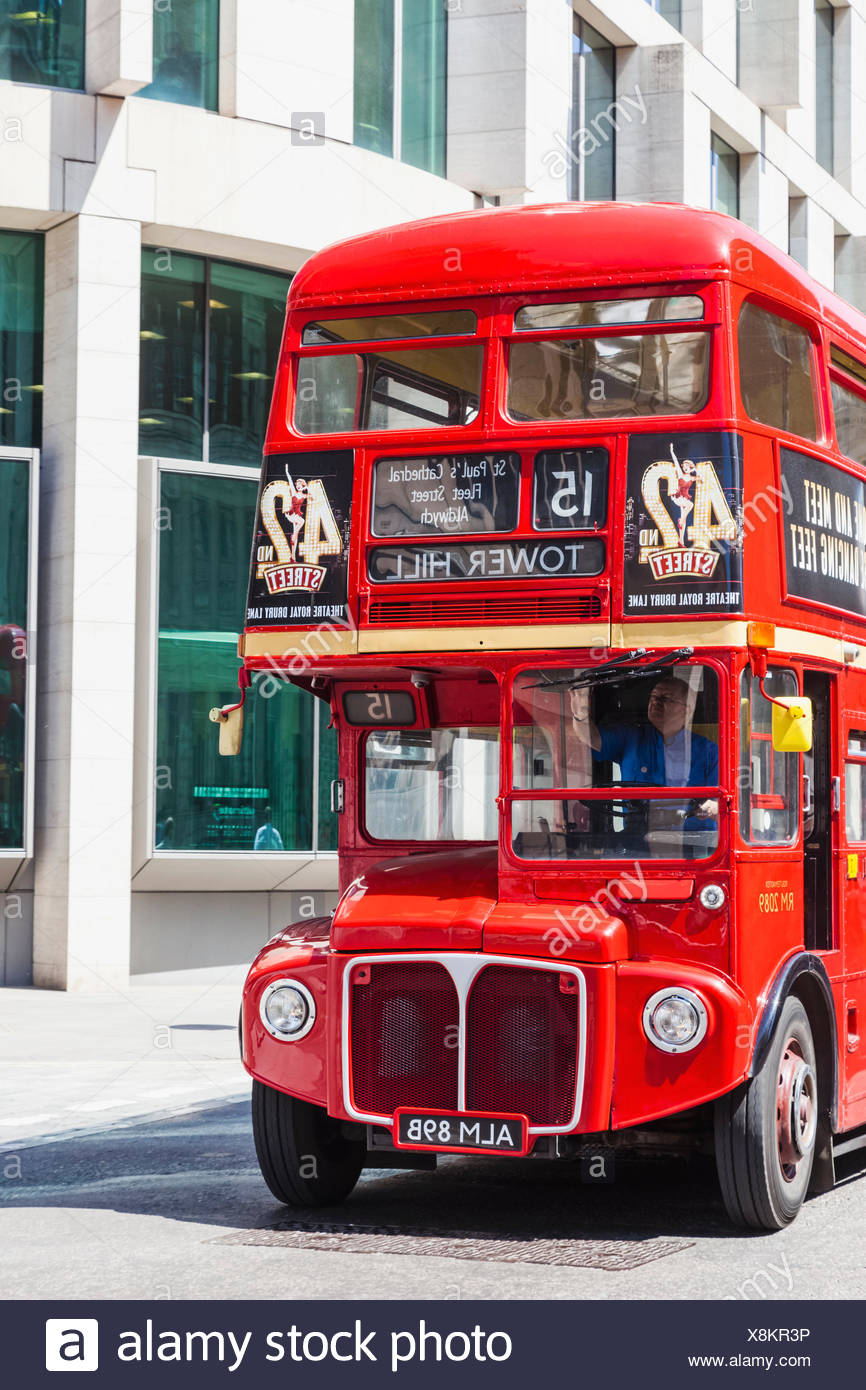 England, London, Vintage Routemaster Doubledecker Red Bus - Stock Image
