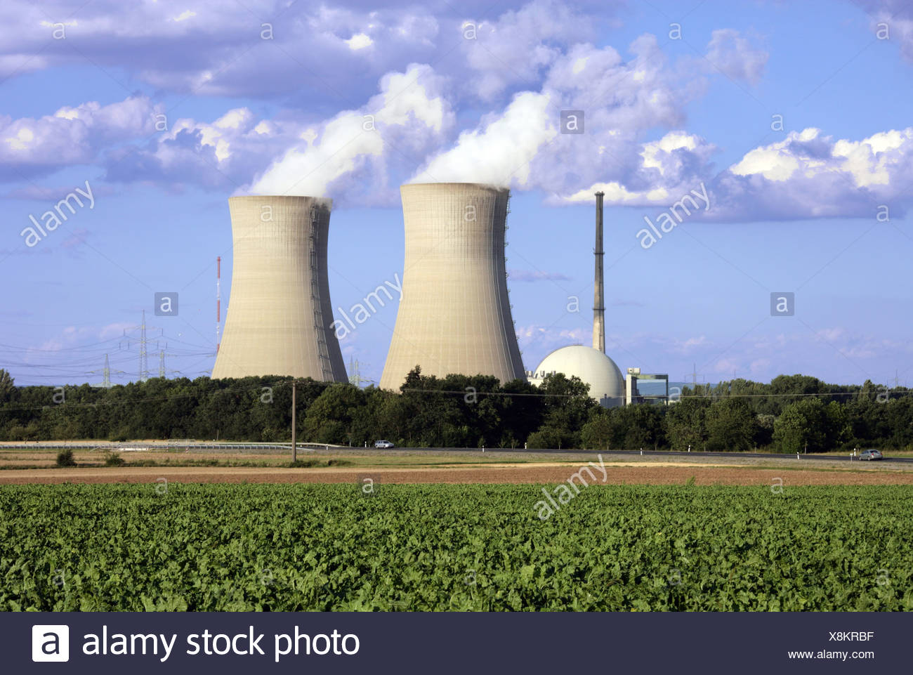 energy, Grafenrheinfeld Nuclear Power Plant, Bavaria, Germany, exterior view, Additional-Rights-Clearance-Info-Not-Available - Stock Image