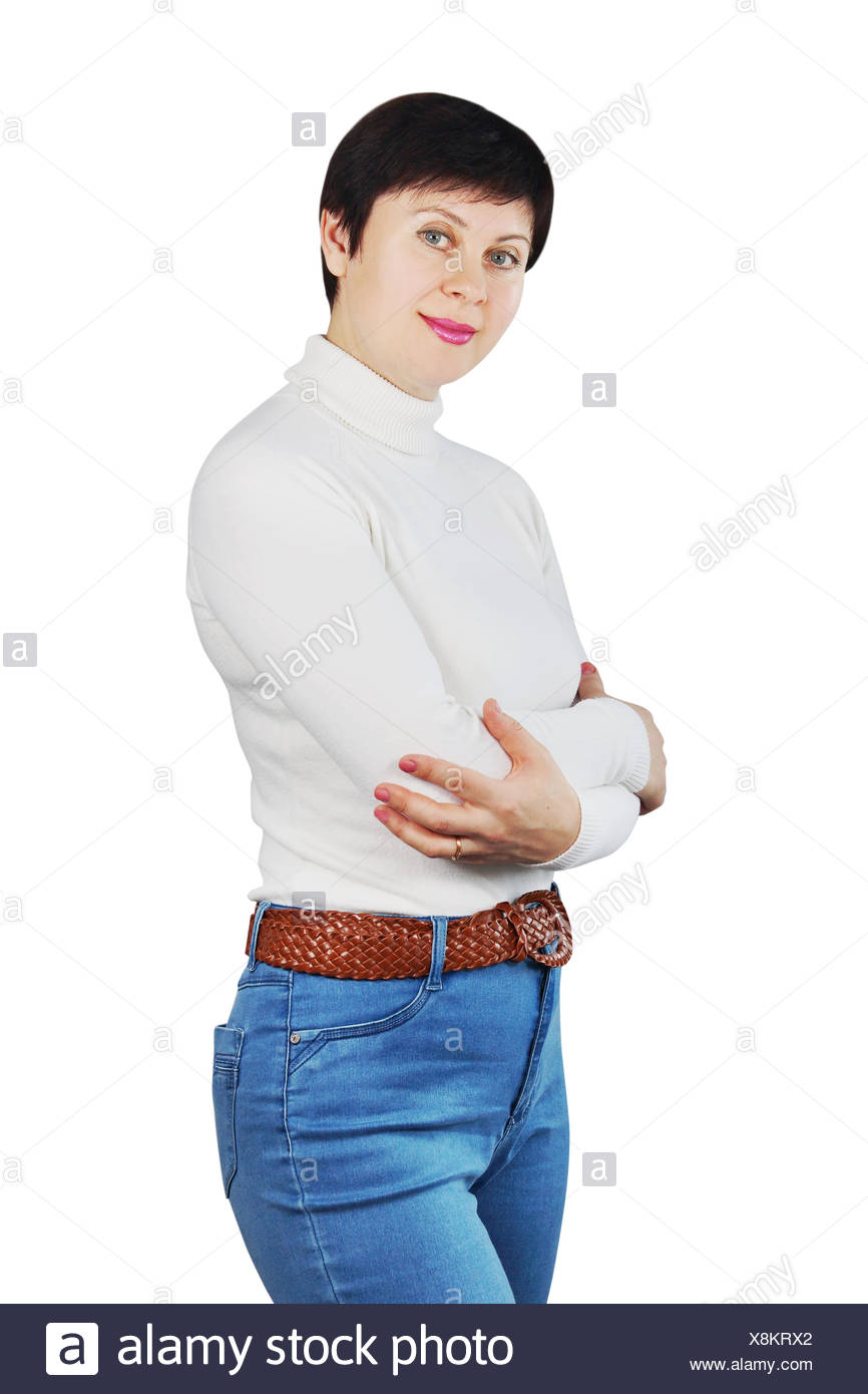 Woman Wearing Blue Jeans And White Turtleneck - Stock Image