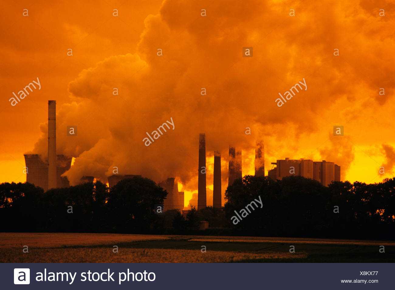 Brown coal power plant in evening light, emissions, North Rhine-Westphalia, Germany, Europe - Stock Image