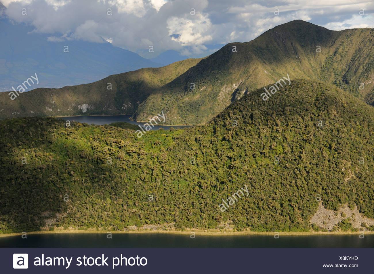 Ecuador Cuicocha Crater Lake Volcano Cotacachi Andes Mountains volcanic landscape scenery island nature mountain caldera Stock Photo